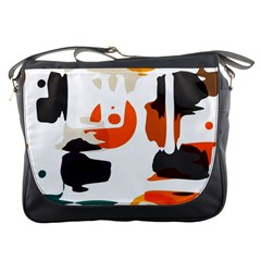Shapes In Retro Colors On A White Background 			messenger Bag by LalyLauraFLM