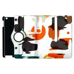 Shapes In Retro Colors On A White Background apple Ipad 2 Flip 360 Case by LalyLauraFLM