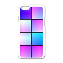 Gradient Squares Pattern  apple Iphone 6/6s White Enamel Case by LalyLauraFLM
