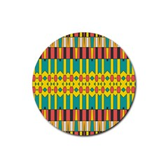 Shapes And Stripes  rubber Coaster (round) by LalyLauraFLM