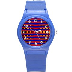 Bright Blue Red Yellow Mod Abstract Round Plastic Sport Watch (s) by BrightVibesDesign