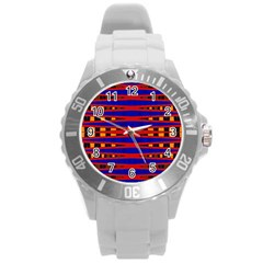 Bright Blue Red Yellow Mod Abstract Round Plastic Sport Watch (l)