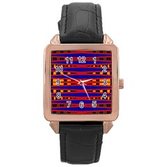 Bright Blue Red Yellow Mod Abstract Rose Gold Leather Watch  by BrightVibesDesign