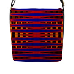 Bright Blue Red Yellow Mod Abstract Flap Messenger Bag (l)