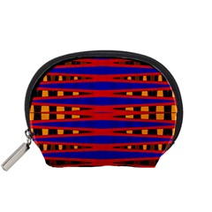 Bright Blue Red Yellow Mod Abstract Accessory Pouches (small)