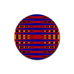 Bright Blue Red Yellow Mod Abstract Rubber Round Coaster (4 Pack)  by BrightVibesDesign