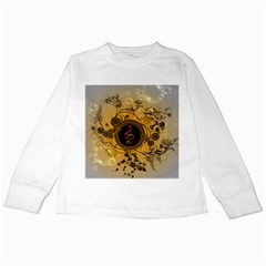 Decorative Clef On A Round Button With Flowers And Bubbles Kids Long Sleeve T Shirts by FantasyWorld7