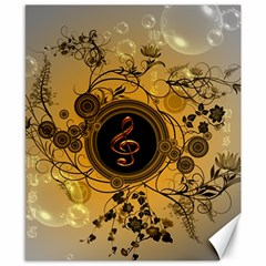 Decorative Clef On A Round Button With Flowers And Bubbles Canvas 8  X 10  by FantasyWorld7