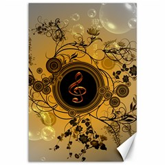 Decorative Clef On A Round Button With Flowers And Bubbles Canvas 12  X 18   by FantasyWorld7