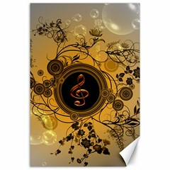 Decorative Clef On A Round Button With Flowers And Bubbles Canvas 24  X 36  by FantasyWorld7