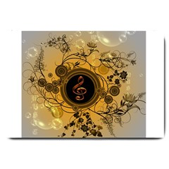 Decorative Clef On A Round Button With Flowers And Bubbles Large Doormat  by FantasyWorld7