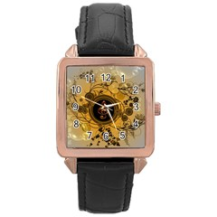Decorative Clef On A Round Button With Flowers And Bubbles Rose Gold Leather Watch  by FantasyWorld7