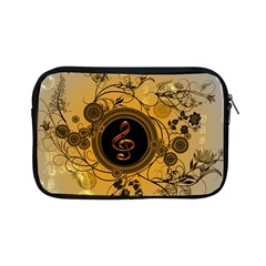 Decorative Clef On A Round Button With Flowers And Bubbles Apple iPad Mini Zipper Cases by FantasyWorld7