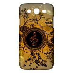 Decorative Clef On A Round Button With Flowers And Bubbles Samsung Galaxy Mega 5 8 I9152 Hardshell Case  by FantasyWorld7