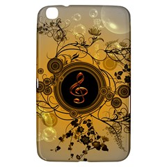 Decorative Clef On A Round Button With Flowers And Bubbles Samsung Galaxy Tab 3 (8 ) T3100 Hardshell Case  by FantasyWorld7