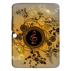 Decorative Clef On A Round Button With Flowers And Bubbles Samsung Galaxy Tab 3 (10 1 ) P5200 Hardshell Case  by FantasyWorld7