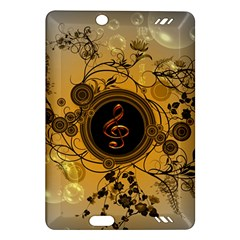 Decorative Clef On A Round Button With Flowers And Bubbles Amazon Kindle Fire Hd (2013) Hardshell Case by FantasyWorld7