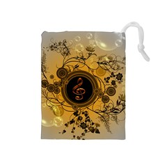 Decorative Clef On A Round Button With Flowers And Bubbles Drawstring Pouches (medium)