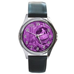 Vintage Purple Lady Cameo Round Metal Watch by BrightVibesDesign