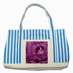 Vintage Purple Lady Cameo Striped Blue Tote Bag by BrightVibesDesign