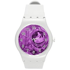 Vintage Purple Lady Cameo Round Plastic Sport Watch (m) by BrightVibesDesign