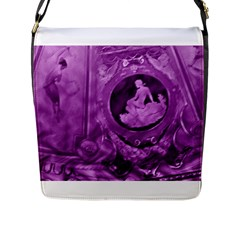 Vintage Purple Lady Cameo Flap Closure Messenger Bag (l) by BrightVibesDesign