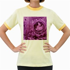 Vintage Purple Lady Cameo Women s Fitted Ringer T Shirts by BrightVibesDesign
