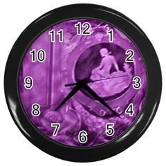 Vintage Purple Lady Cameo Wall Clocks (black) by BrightVibesDesign