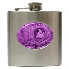 Vintage Purple Lady Cameo Hip Flask (6 Oz) by BrightVibesDesign