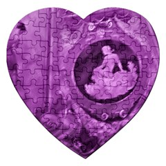 Vintage Purple Lady Cameo Jigsaw Puzzle (heart) by BrightVibesDesign