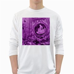 Vintage Purple Lady Cameo White Long Sleeve T Shirts by BrightVibesDesign