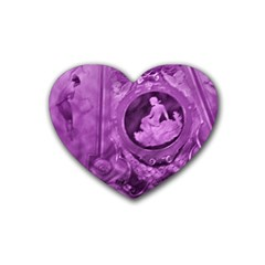 Vintage Purple Lady Cameo Rubber Coaster (heart)  by BrightVibesDesign