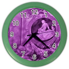 Vintage Purple Lady Cameo Color Wall Clocks by BrightVibesDesign