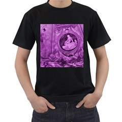 Vintage Purple Lady Cameo Men s T-Shirt (Black) by BrightVibesDesign