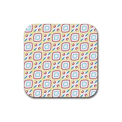 Squares Rhombus And Circles Pattern  			rubber Square Coaster (4 Pack by LalyLauraFLM