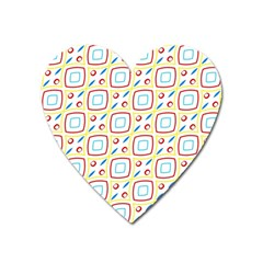 Squares Rhombus And Circles Pattern  			magnet (heart) by LalyLauraFLM