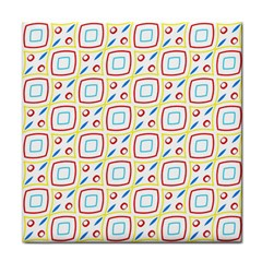 Squares Rhombus And Circles Pattern  			face Towel by LalyLauraFLM