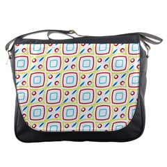 Squares Rhombus And Circles Pattern  			messenger Bag by LalyLauraFLM