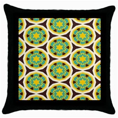 Blue Yellow Flowers Pattern 			throw Pillow Case (black) by LalyLauraFLM