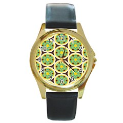 Blue Yellow Flowers Pattern round Gold Metal Watch by LalyLauraFLM