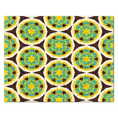 Blue Yellow Flowers Pattern 			jigsaw Puzzle (rectangular)
