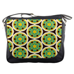 Blue Yellow Flowers Pattern 			messenger Bag by LalyLauraFLM