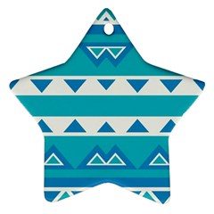 Blue Triangles And Stripes  ornament (star) by LalyLauraFLM