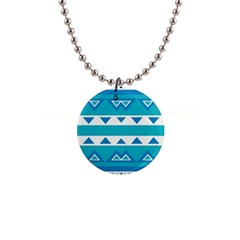 Blue Triangles And Stripes  			1  Button Necklace by LalyLauraFLM