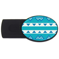 Blue Triangles And Stripes  usb Flash Drive Oval (4 Gb) by LalyLauraFLM