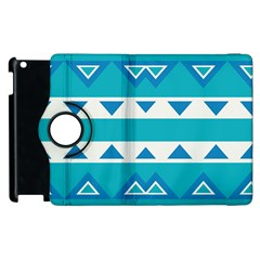 Blue Triangles And Stripes  			apple Ipad 3/4 Flip 360 Case by LalyLauraFLM