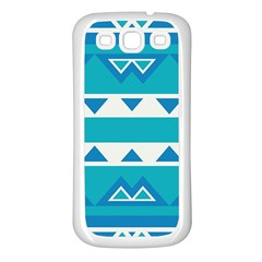 Blue Triangles And Stripes  			samsung Galaxy S3 Back Case (white) by LalyLauraFLM