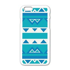 Blue Triangles And Stripes  			apple Iphone 6/6s White Enamel Case by LalyLauraFLM