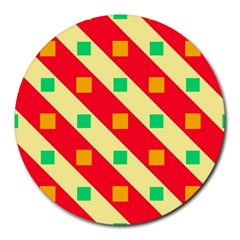 Squares And Stripes    round Mousepad by LalyLauraFLM