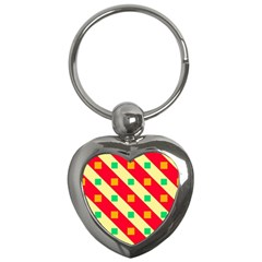 Squares And Stripes    key Chain (heart) by LalyLauraFLM